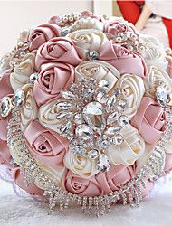Hochzeitsblumen Rundförmig Rosen Sträuße Hochzeit Partei / Abend Polyester Satin Organza Perlen Kristall Strass ca.23cm
