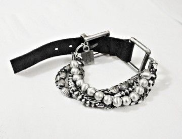 KSZU- Multii Chain Silver & Leather Bracelet