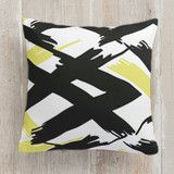 """Ribbon"" - Abstract, Minimalist Pillows in Neon Yellow by Itsy Belle Studio."