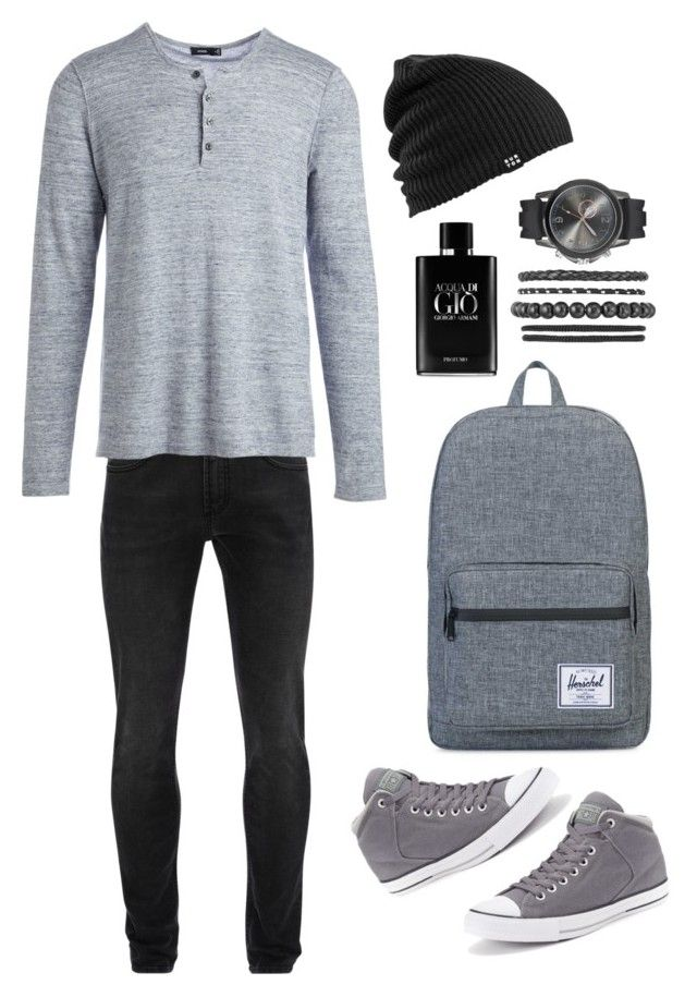"""Back to School Men Fashion"" by saffaatun on Polyvore featuring Alexander McQueen, Vince, Herschel Supply Co., Burton, Giorgio Armani, Converse, men's fashion and menswear"