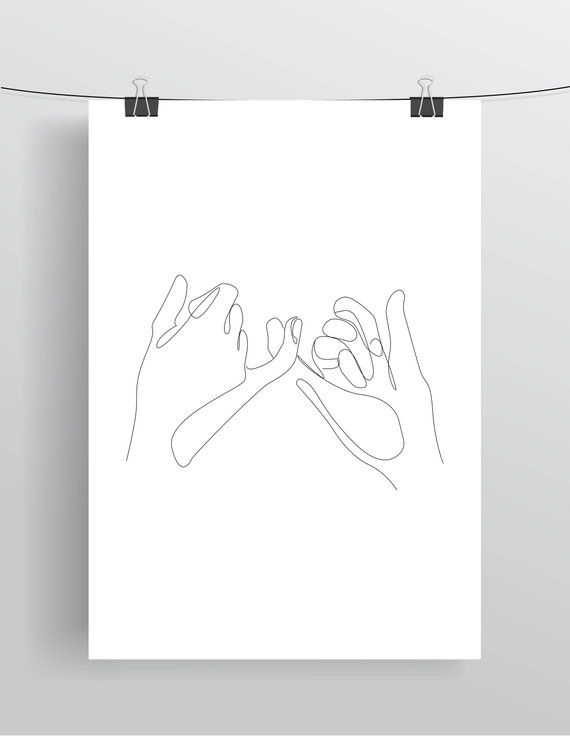 Pinky Promise, Pinky Swear, Hands, Fingers, Friends, Printable, Line Drawing Print, Black White Artwork, Poster Minimalist hand, Art – Thuy Tien