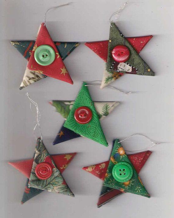 Estrela enfeites de Natal, estrelas, tecido, casa de campo da decoração de Natal, Natal, estrela do natal, vermelho prata ouro verde, decorações da árvore
