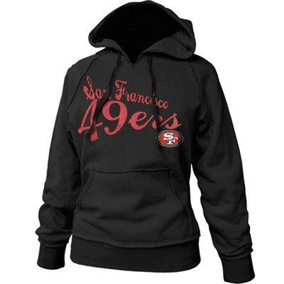 San Francisco 49ers Ladies Black Takeaway Raw Edge Pullover Hoodie Sweatshirt