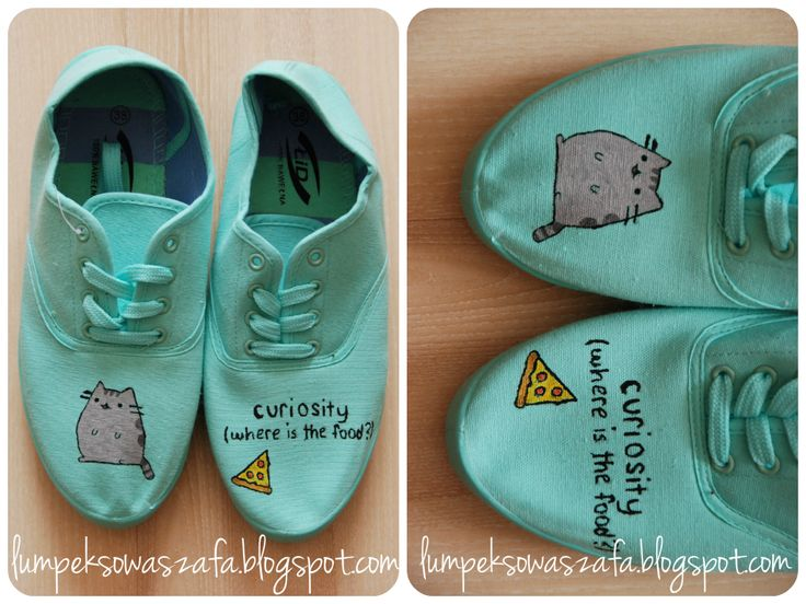 DIY mint sneakers trainers,  Hand-painted Pusheen