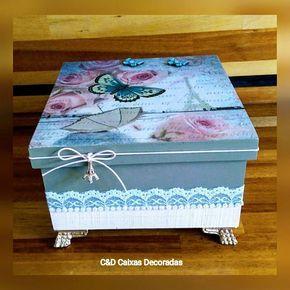 Caixa romance em Paris #caixasdecoradas #artesanato #mdf #multiuso #paris #borboletas #rendas #pérol - cd_caixas