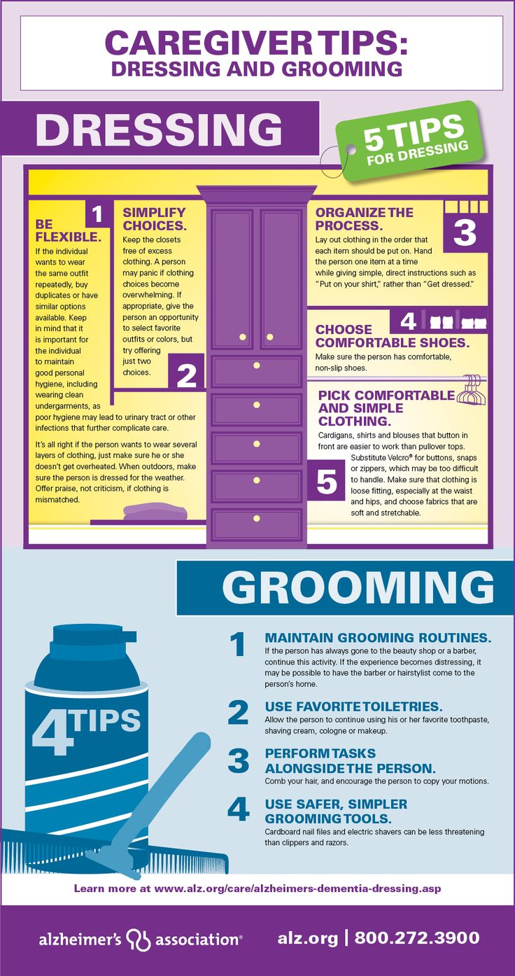 Helping a person with dementia maintain his or her appearance can be challenging. Here are some helpful tips to make dressing and grooming a bit easier. #dementia #caregiver #seniors