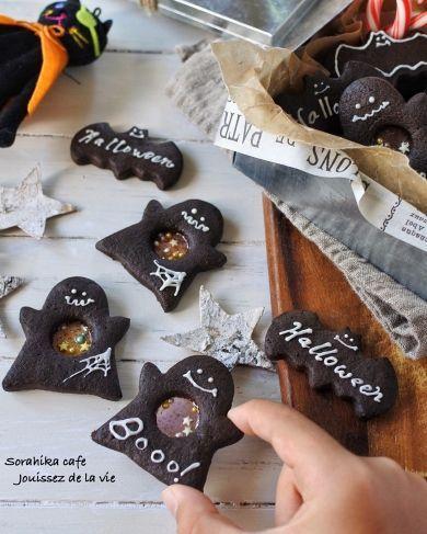 「ハロウィン気分を盛り上げる!!おばけのステンドグラスクッキー」そらひか   お菓子・パンのレシピや作り方【corecle*コレクル】