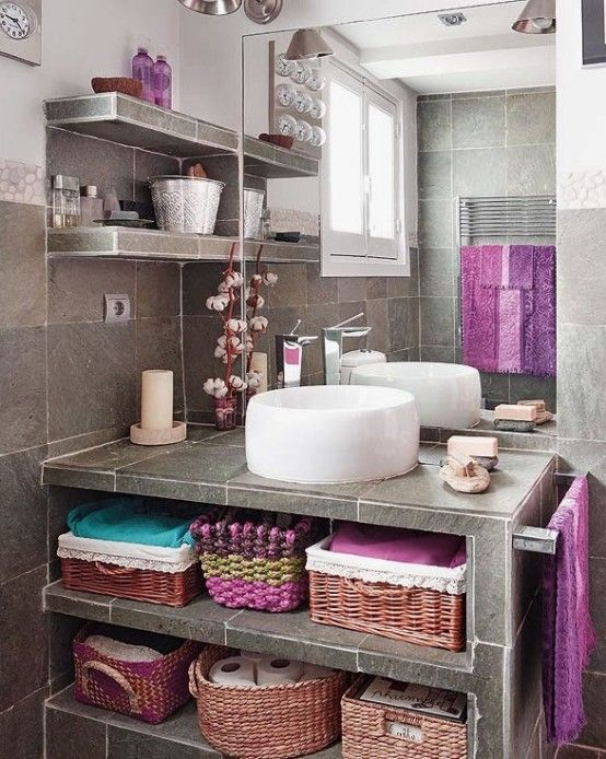 Modern Boho Bathroom - this one is my favorite.  36 Bright Bohemian Bathroom Design Ideas | DigsDigs