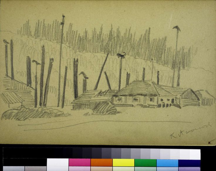 Kitwancool, 1929? Emily Carr. pencil. BC Archives PDP05789