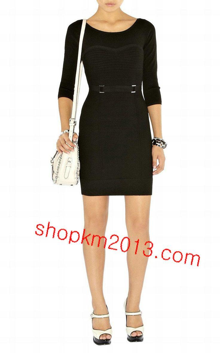 Karen Millen KM106 Black Contour Stitch Knit Dress
