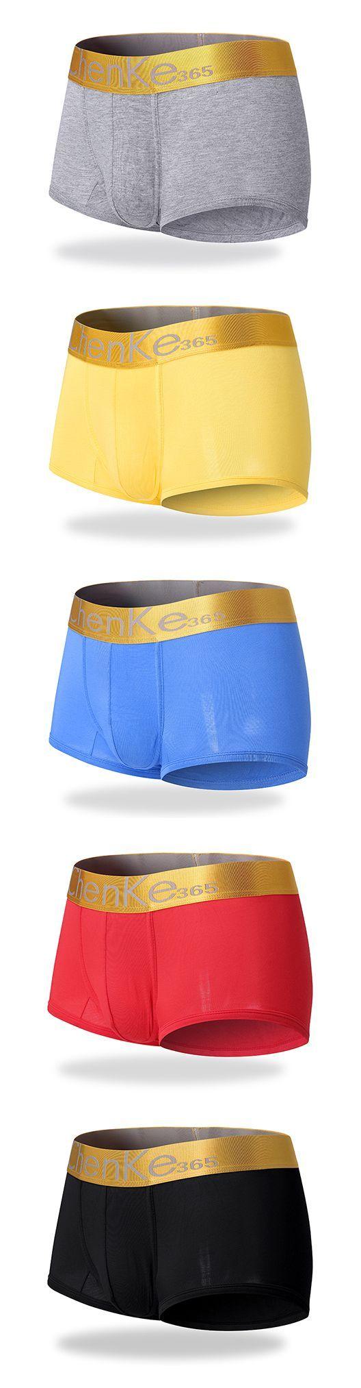 Fashion New Color Waist Mens Modal Triangle U Convex Pockets Anti-low Low Waist Cool Three-legged Underwear Mens Underwear And Digestion Helping Briefs Men's Underwear