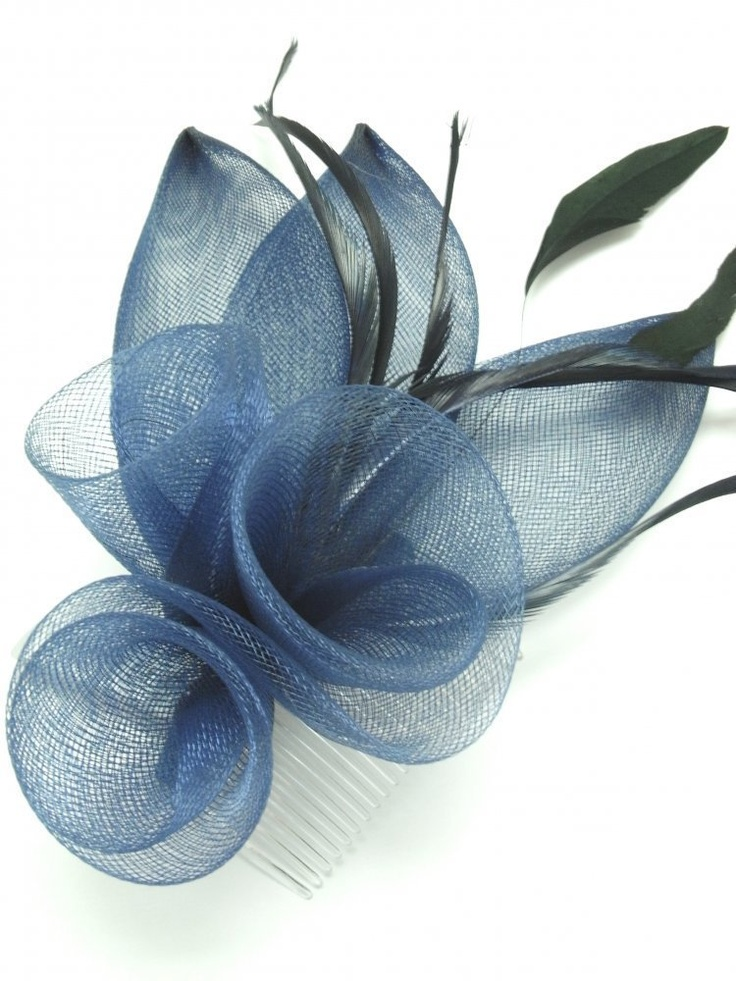 Pretty Net Flowers and Petals Fascinator on comb ,Available in 3 colours Red Grey , Navy Blue Ideal Wedding Races Ladies day Ascot Or any Special Occasion