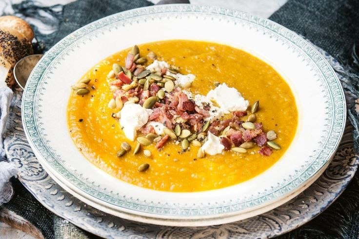 Katie Quinn Davies lifts the flavour of traditional pumpkin soup with toasty pumpkin seeds and salty bacon for crunch and texture.