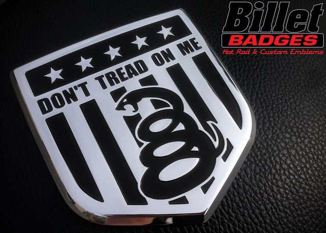 """This """"Don't Tread On Me"""" fits 09+ Dodge Tailgate Shield. It is polished with a black paint filled text graphic. For more info visit www.billetbadges.com.  #billetbadges #Dodge #truck #emblem #custom #madeinusa"""