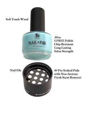 Nail polish from Duality Cosmetics-- includes polish and a kit that screws on containing a nail file and pre-soaked nail polish remover. I know a high profile gal this would be perfect for!