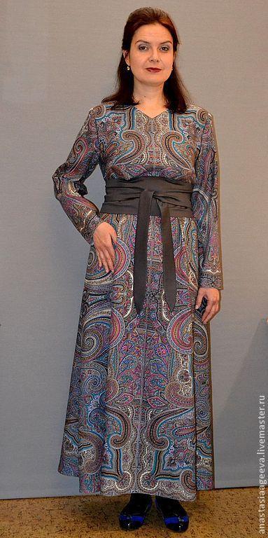 """Купить Платье из платка """"Драгоценная"""". - серый, орнамент, платье из платка, платье ручной работы"""