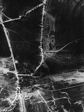 Aerial photograph (French) of the Battle of Verdun in north eastern France, during the First World War, taken from a height of 400 metres.