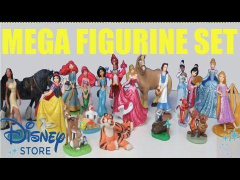 (2) Disney Princess MEGA Figurine Playset Collection Princess Ariel Rapunzel Sleeping Beauty - YouTube