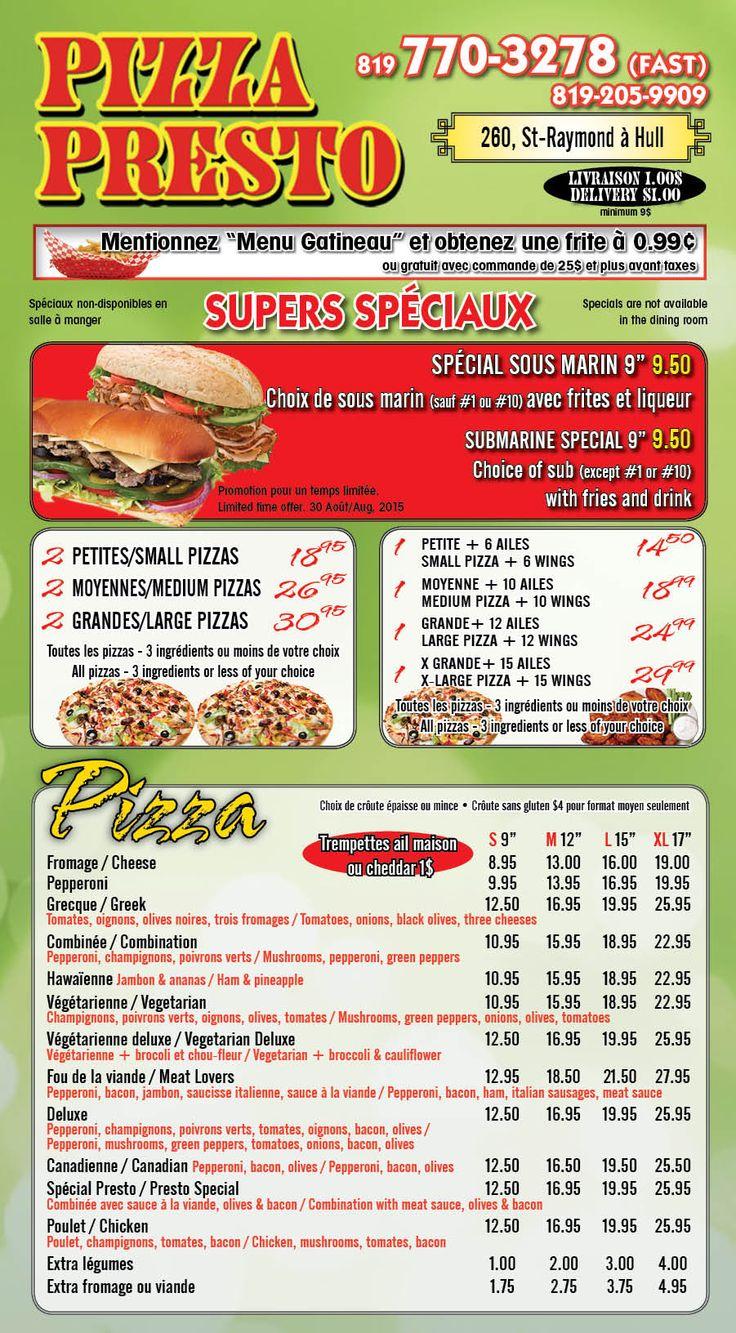 Pizza Presto - 260 St-Raymond, unit 107. Commandez en ligne!