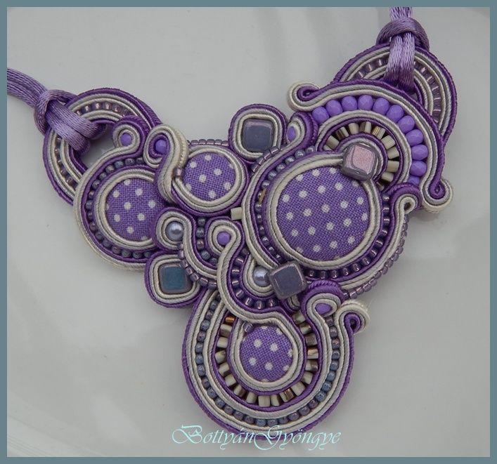 Lila aszimmetrikus sujtás medál / nyaklánc - soutache asymmetrical purple pendant / necklace