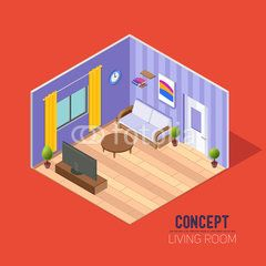 Сoncept room 3d, a lounge with a sofa and TV, a living room with a window and door curtains, isometrics composition