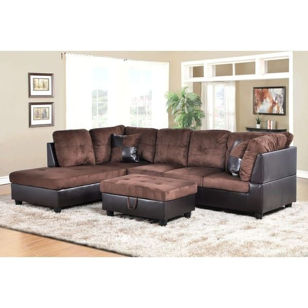 Golden Coast Furniture 3 Piece Microfiber Leather Sofa Sectional With Ottoman Storage Sectional Sofa Furniture Sofa Set