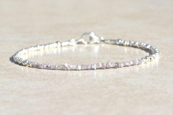 Pink Diamond Bracelet, Genuine Raw Rough Diamond Bracelet, April Birthstone, Delicate Diamond Bracelet, Silver Beaded Bracelet, Gift for Her