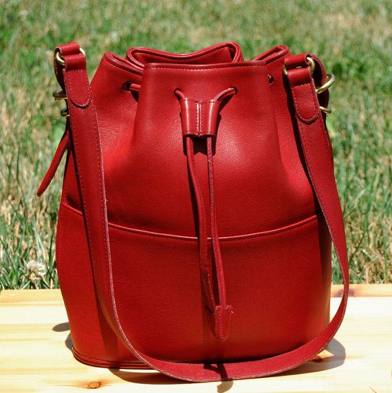 Vtg. COACH Leather Bucket Bag in Cherry Red, RARE // Coach Leather Drawstring Bag // Red Leather Shoulder Bag // Excellent Vintage Condition...
