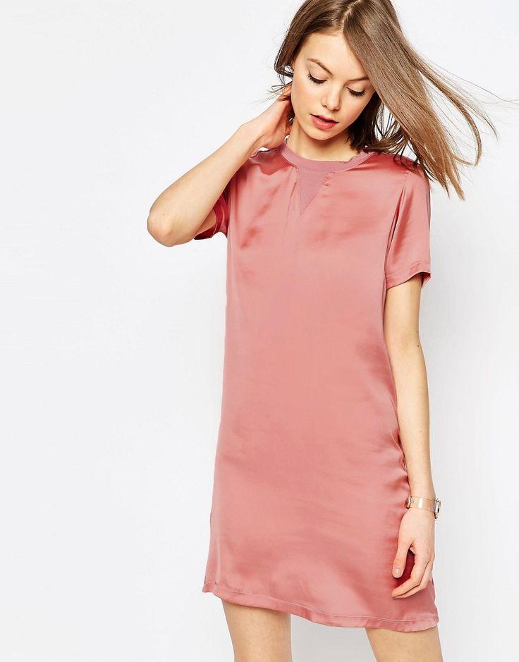 Image 1 ofASOS Satin Front T-shirt Dress