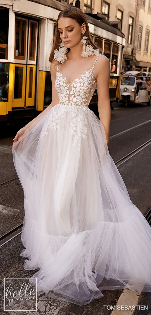 1aa89e31838b2 Tom Sebastien Wedding Dresses 2019 - Lisbon Bridal Collection. Backless  lace flowy a-line wedding dress with lace sleeveless bodice and tulle skirt  .