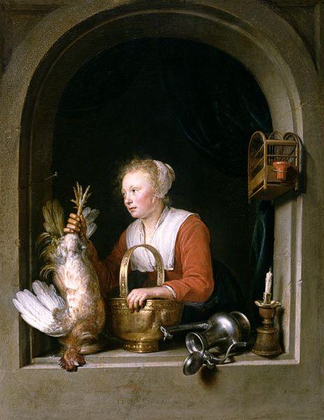 Gerard Dou - Femme accrochant un coq a sa fenetre (dit aussi La Menagere ou La Cuisiniere Hollandaise)