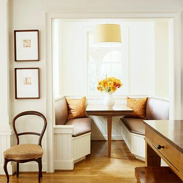 a reading and eating nookCozy Nooks, Bench Seats, Built In, Breakfast Nooks, Kitchens Nooks, Breakfast Area, Small Spaces, Dining Nooks, Kitchens Booths