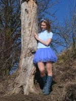 Modrá tylová sukně