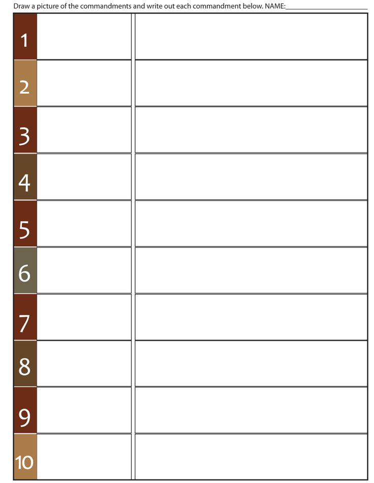 Worksheet To Teach The 10 Commandments Fill in Blank