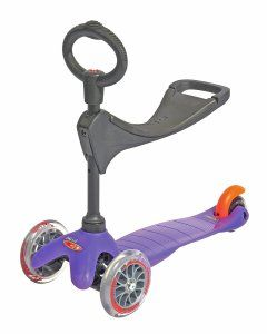 Mini Micro 3in1 Purple (Scooter Complete with Accessory Features 2 adjustable height settings for Seat (new in United States!) Scooter with adjustable Seat and O-bar accessory. http://awsomegadgetsandtoysforgirlsandboys.com/cool-toys-toddlers/