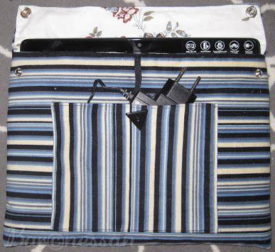 Väska till surfplatta gjord av loppisfyndat tyg. Bag for tablet from recykled fabric.