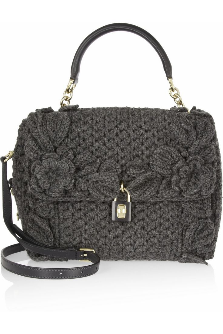 Dolce & Gabbana|Dolce medium crochet-knit and leather shoulder bag
