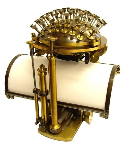 """Nietzsches Typewriter:  Nietzsche received his writing ball in 1882. We know that Nietzsche was also familiar with the newest Remington typewriter (model 2), but as he wanted to buy a portable typewriter, he chose to buy the Malling-Hansen writing ball, as this model was lightweight and easy to carry — one might say that it was the """"laptop"""" of that time."""
