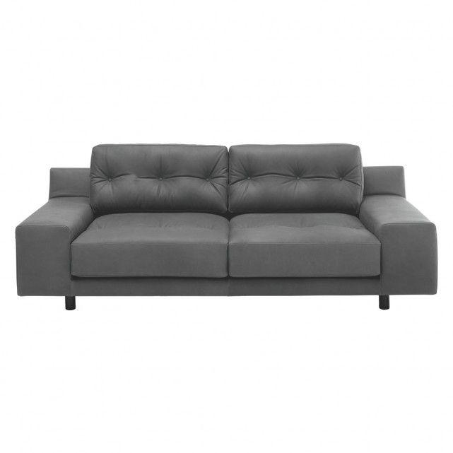 HENDRICKS Grey Luxury Leather 2 Seater Sofa