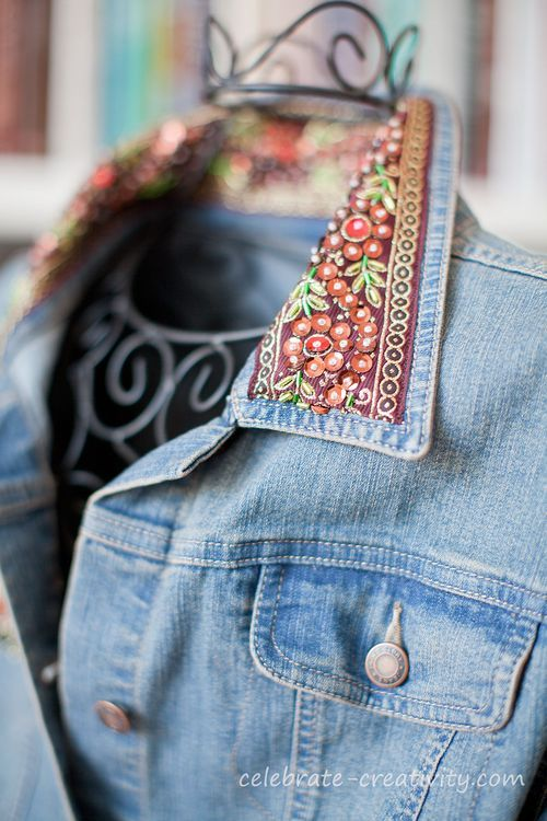 beaded denim collar