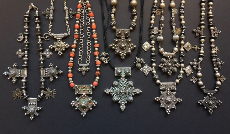 antique Moroccan, Berber, silver amulets and silver beads