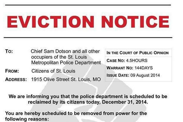 Protesters Storm St. Louis Police Headquarters With Eviction ... - what does an eviction notice look like