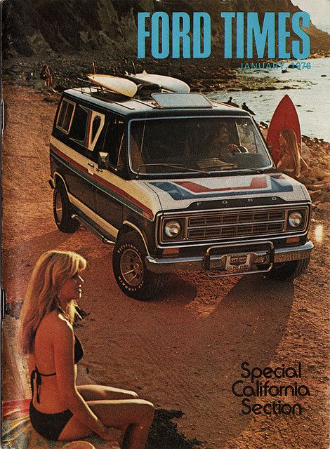 Going surfing with Ford Times magazine, January, 1976.