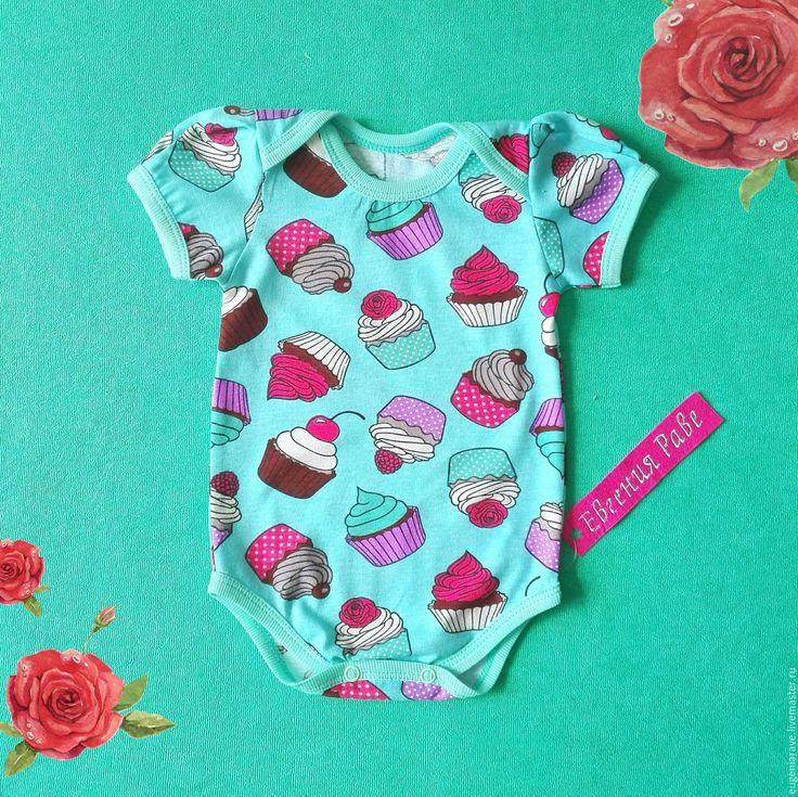 """Купить Боди для малышки """"Капкейки"""" - мятный, рисунок, для девочки, для новорожденной, для новорожденных, для новорожденного, бодик"""