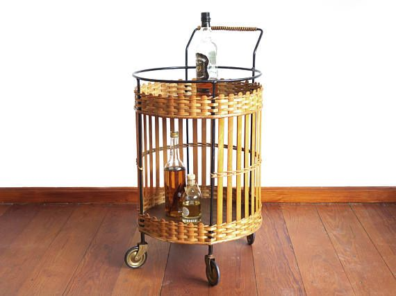Vintage bar trolley round wicker serving trolley black