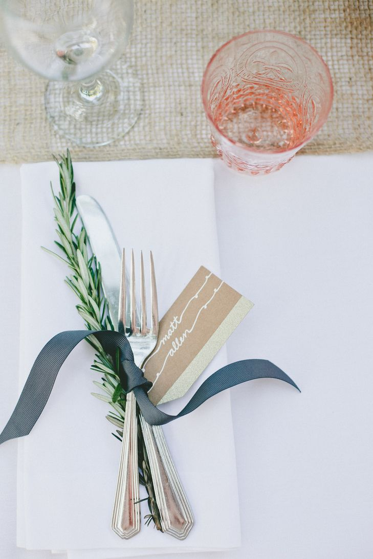 Natural Rosemary Table Setting Photo Onelove