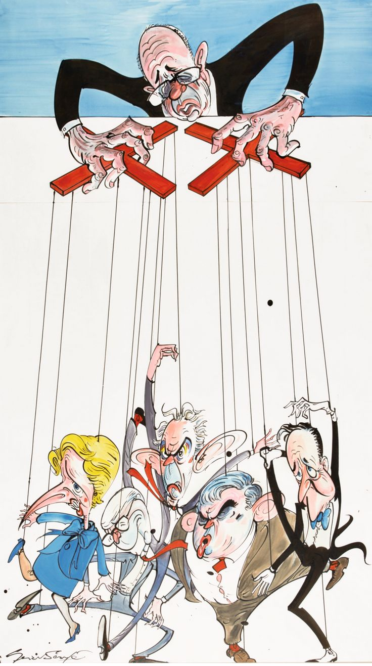 Gerald Scarfe ~ Rupert Murdoch and prime ministers past: Margaret Thatcher, John Major, Tony Blair, Gordon Brown, and David Cameron