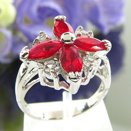 Inel placat cu aur alb 18k cu rubine rosii