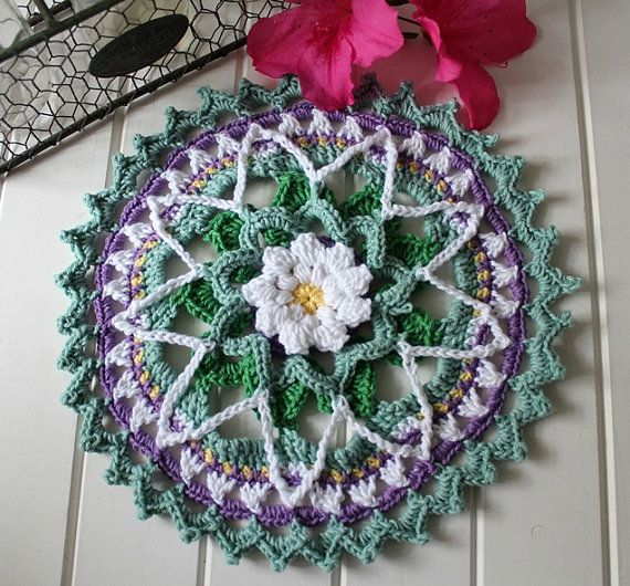 Crochet Spring Daisy Mandala by threadbarehandmadeau on Etsy