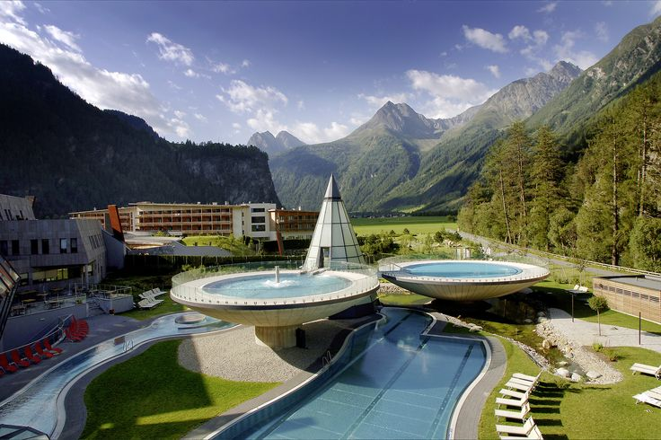 "The AQUA DOME is ""the thermal spa of the Alps"" based on 50.000 m² with a 4 star superior hotel in modern alpine style, one of the most modern thermal spas in Europe with sulphur water, a huge sauna area, a spa area for body and facial treatments and massages, a fitness area with cardio and power equipment, daily changing indoor and outdoor activities and an exclusive hotel spa on more than 2.000 m² for relaxation and regeneration. © AQUA DOME"